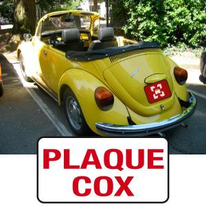 cache plaque personnalisé pour coccinelle cox VW par mapubauto.com