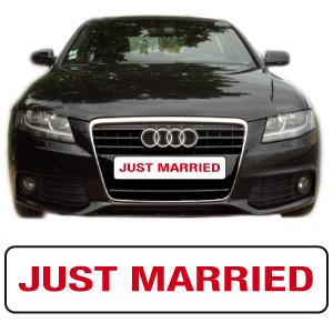 """cache plaque """"just married"""" réalisé par mapubauto.com"""