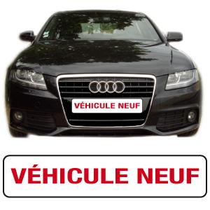 """cache plaque """"vehicule neuf"""" par mapubauto.com"""