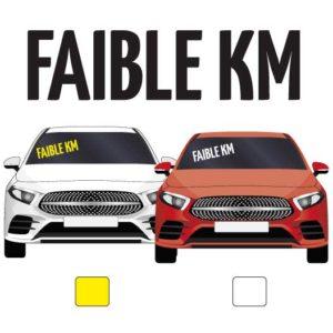 """lettres adhésives pour véhicule """"faible kilomètrage"""" par mapubauto.com"""