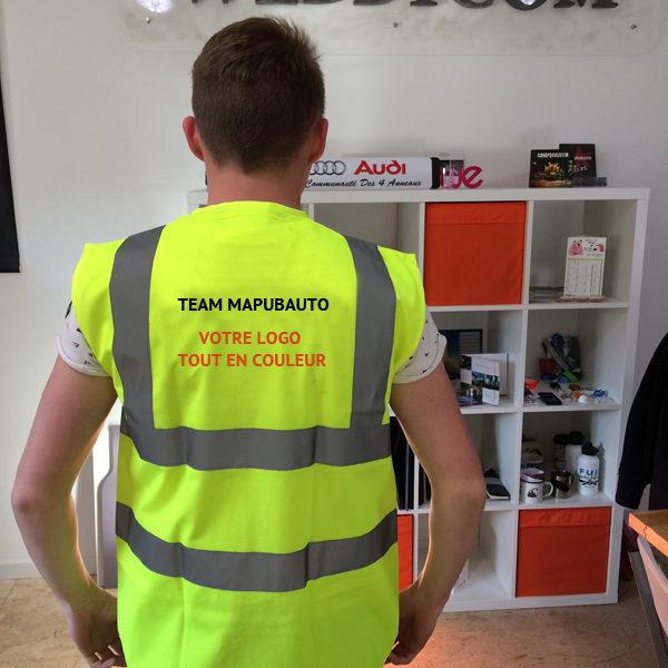 Gilet de sécurité personnalisé en couleur par mapubauto.com