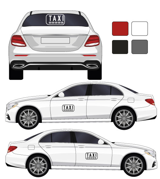 kit stickers marquage décoration pour taxi par mapubauto.com